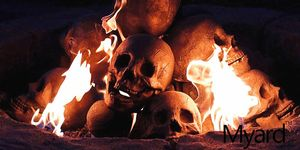 skull shaped fire logs halloween
