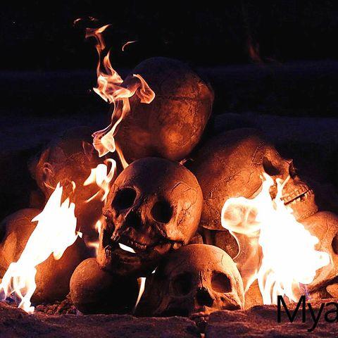 skull shaped fire logs halloween