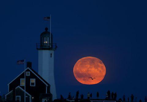 Moon, Sky, Landmark, Tower, Beacon, Celestial event, Astronomical object, Midnight, Full moon, Lighthouse,