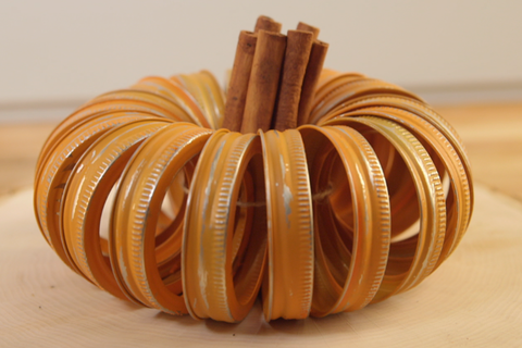 We Upcycled Mason Jar Bands Into The Cutest Pumpkin Decor Ever
