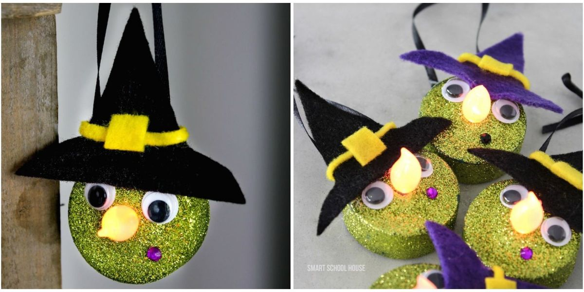 Turn Dollar Store Tea Lights Into The Cutest Halloween Witches