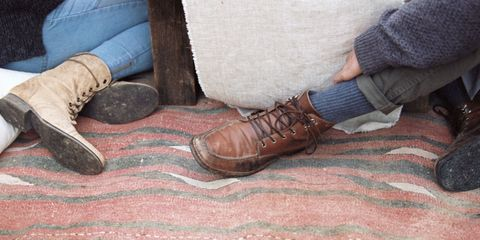 Footwear, Shoe, Leg, Hand, Human leg, Foot, Room, Textile, Wood, Floor,