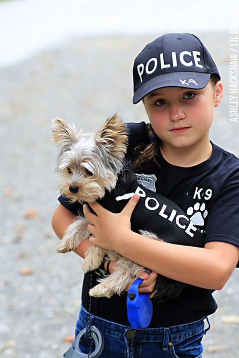 matching dog and kid costume police
