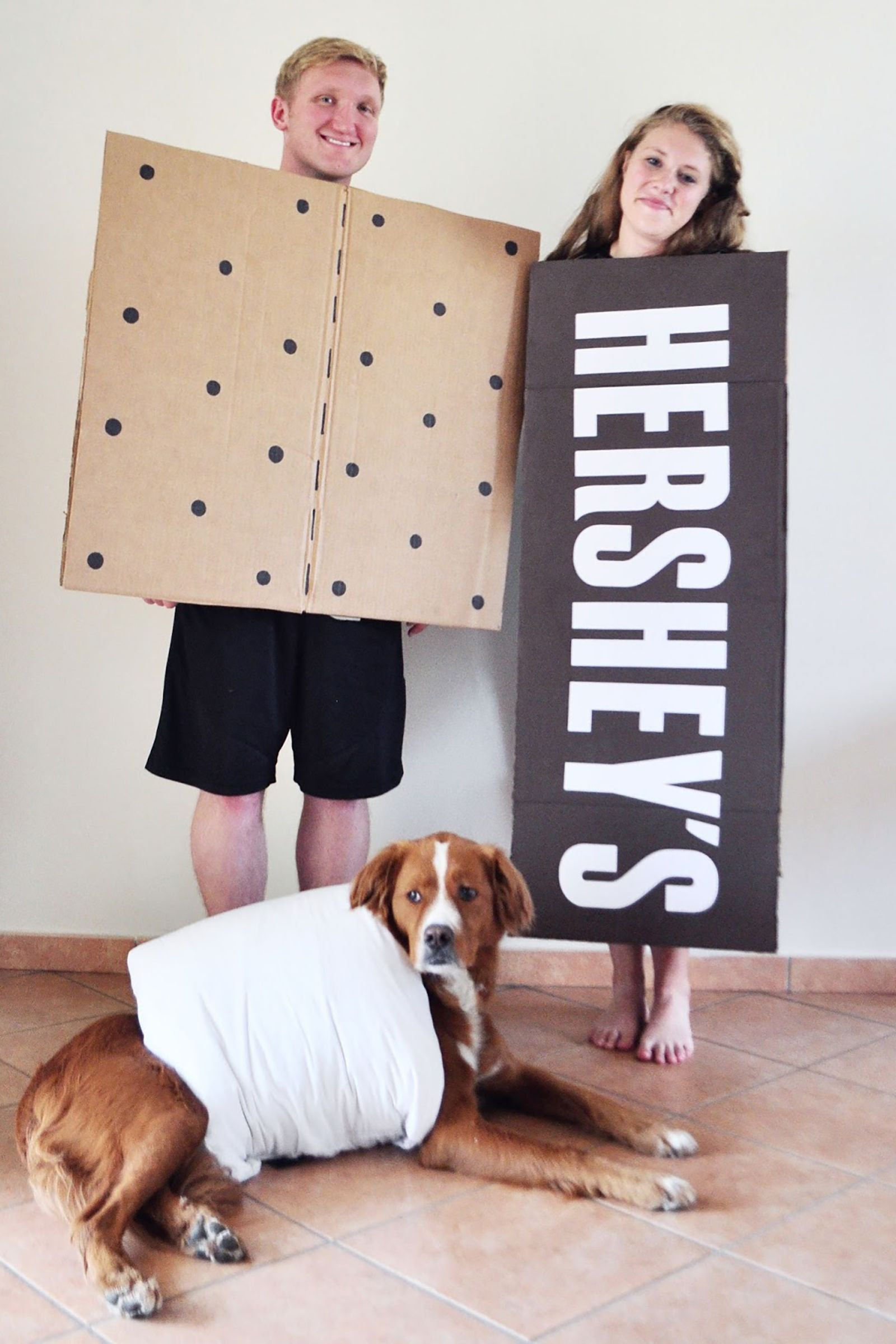 matching family costume with dog