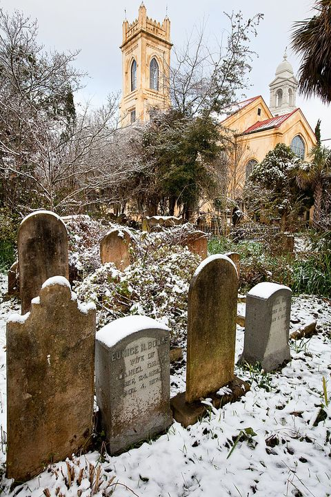 Headstone, Snow, Winter, Grave, Tree, Freezing, Cemetery, Church, Architecture, Building,