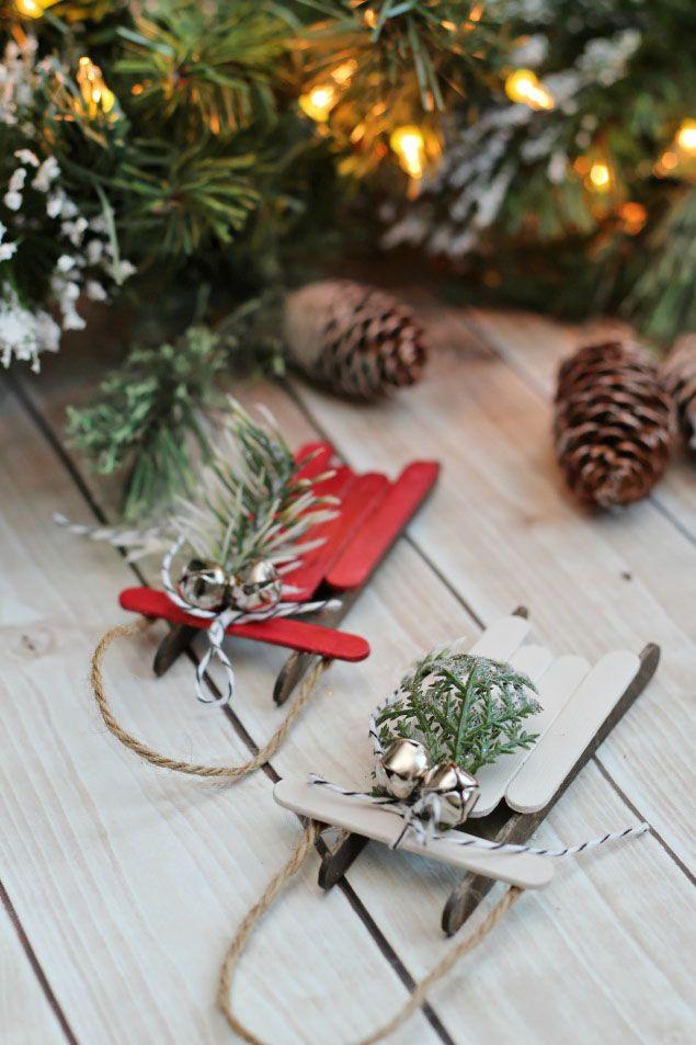 Mini Sleds Homemade Christmas Ornament