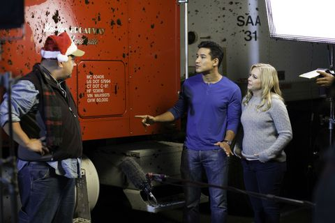 Mario Lopez and Melissa Joan Hart in A Very Merry Toy Store.