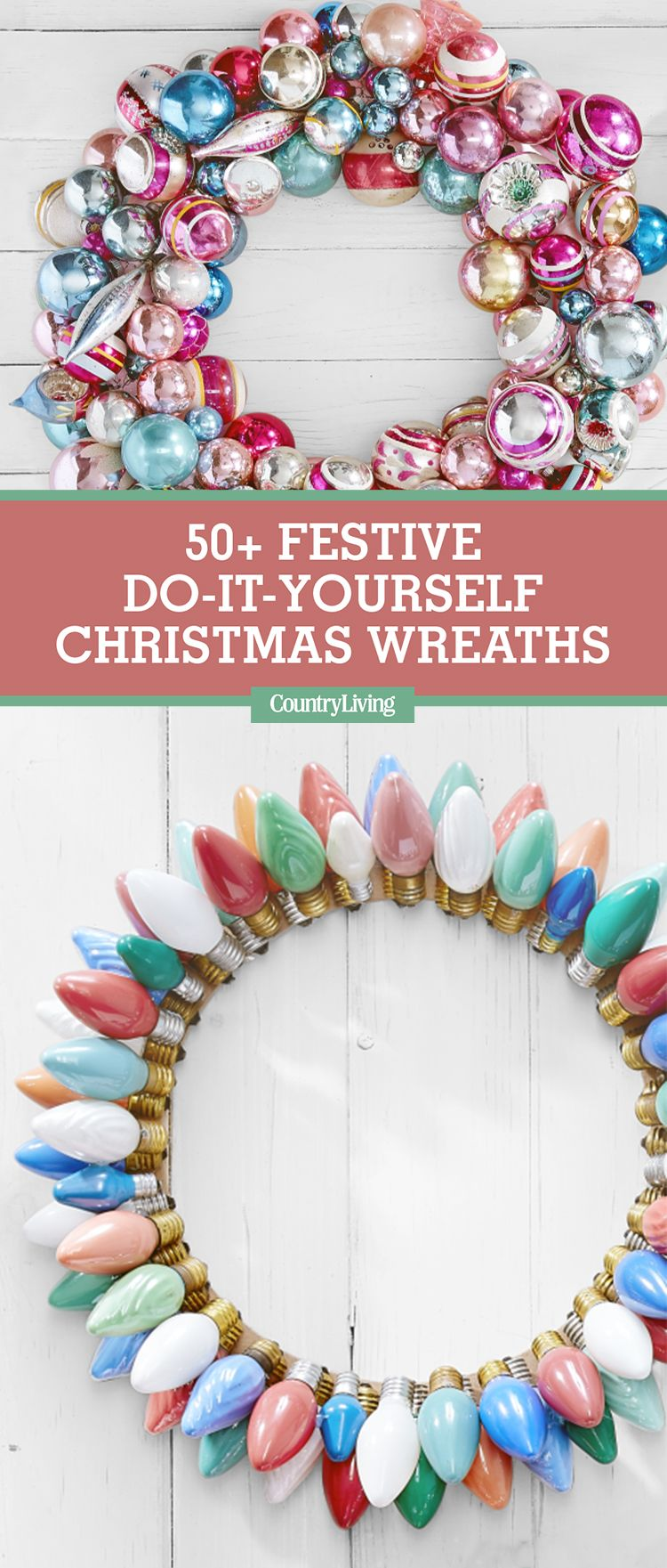 50 diy christmas wreath ideas how to make holiday wreaths crafts solutioingenieria Choice Image