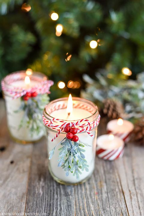 diy peppermint mason jar candles
