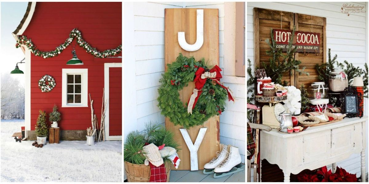 34 Outdoor Christmas Decorations - Ideas for Outside Christmas Porch on