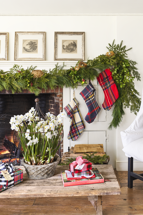 plaid christmas mantel