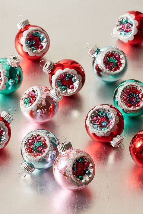 shiny brite christmas ornaments - Teal And Red Christmas Decorations