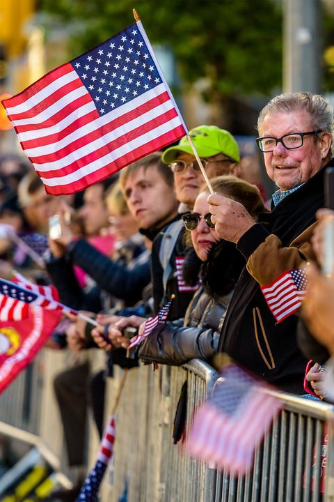 People, Flag, Flag of the united states, Event, Public event, Crowd, Flag Day (USA), Parade, Festival, Veterans day,