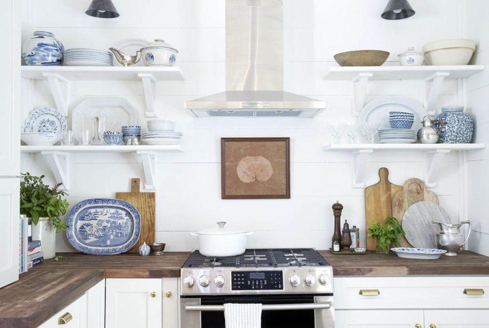 Farmhouse Kitchen Renovation – Open Shelving in Kitchen