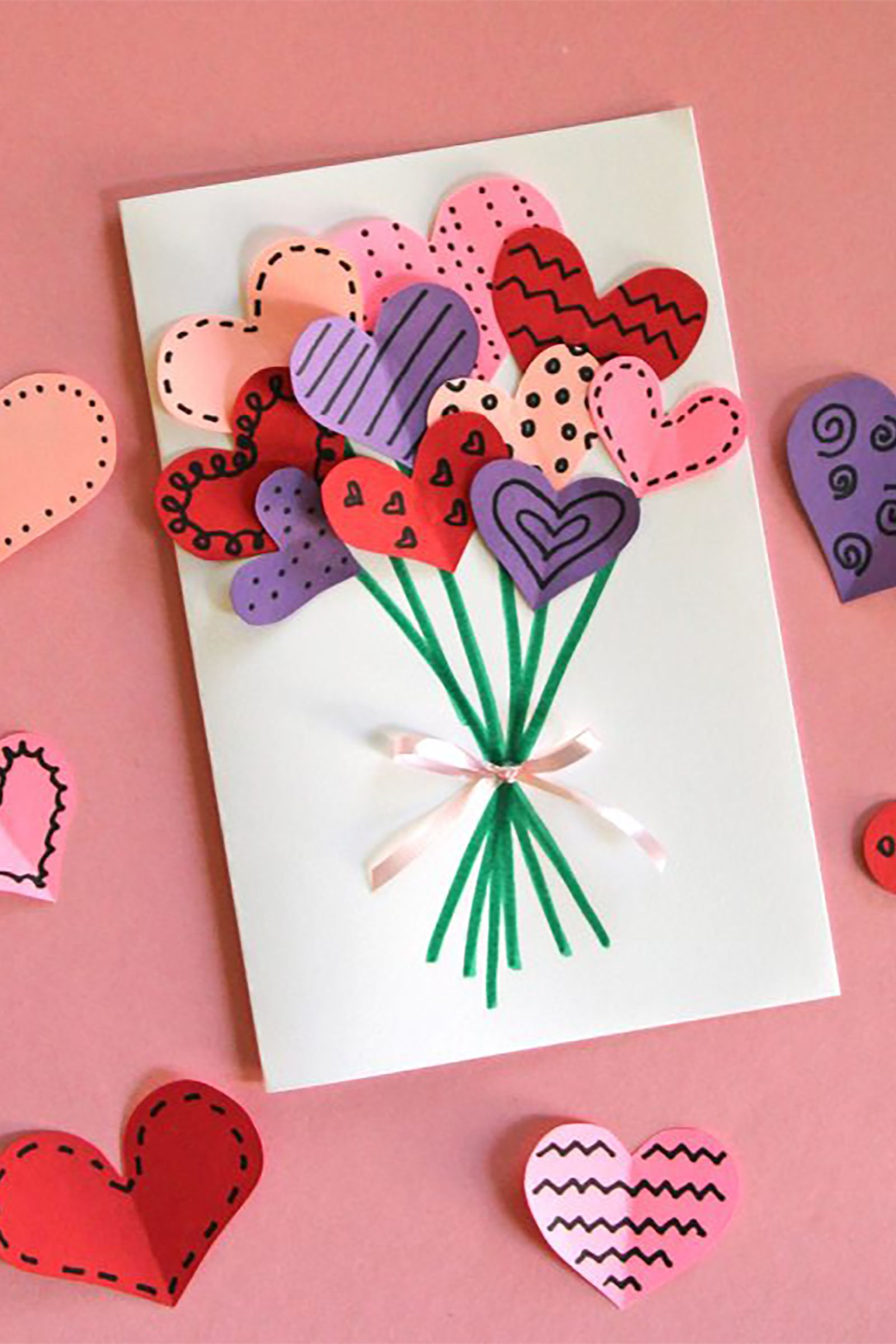 bouquet of hearts valentine's day card how to