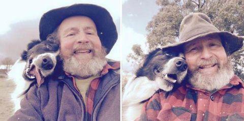 People, Selfie, Facial hair, Beard, Nose, Dog, Canidae, Photography, Companion dog, Human,