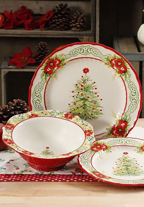 Dishware, Porcelain, Tableware, Plate, Saucer, Dinnerware set, Serveware, Ceramic, Platter, Christmas eve,