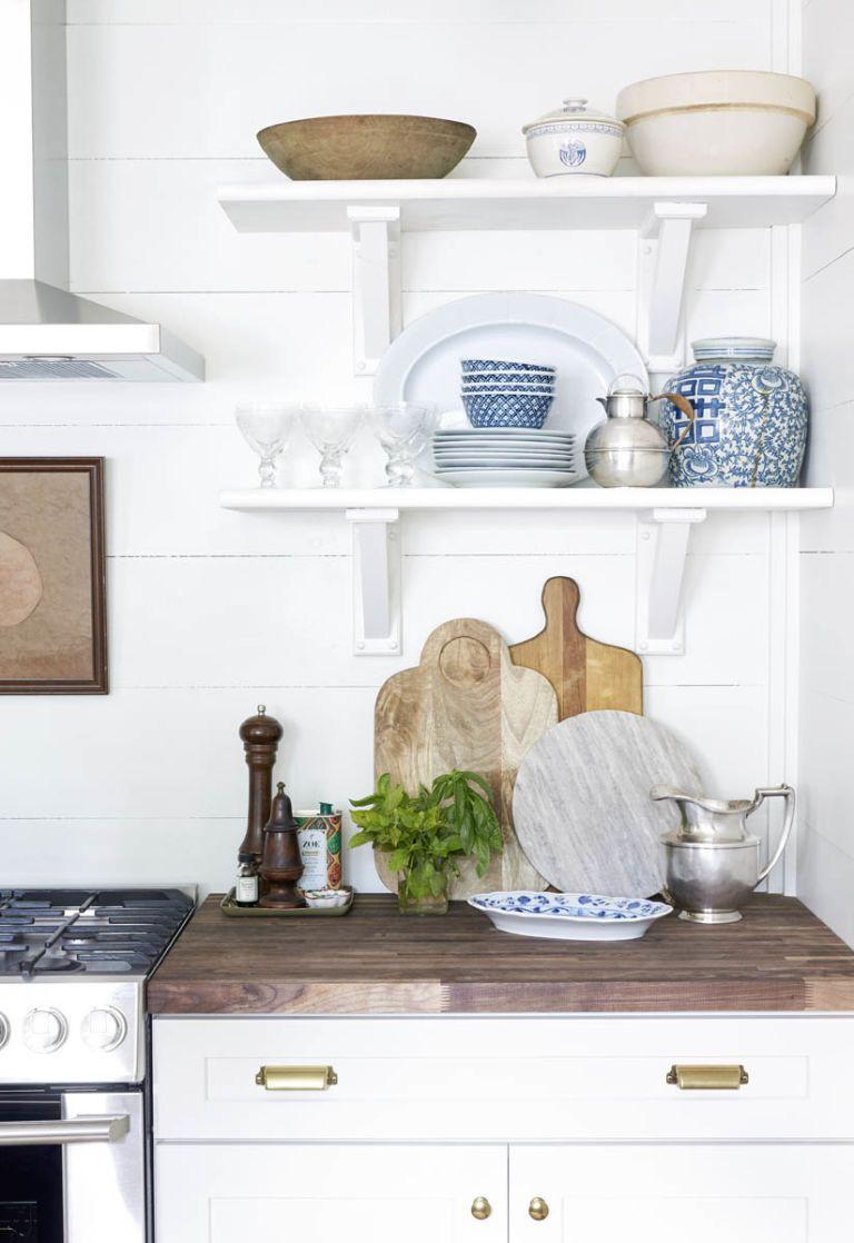 Farmhouse Kitchen Renovation - Open Shelving in Kitchen