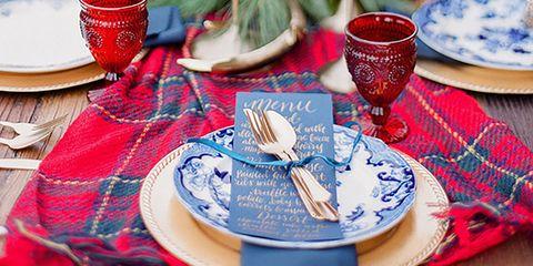 Dishware, Placemat, Dinnerware set, Tartan, Tablecloth, Textile, Table, Pattern, Plate, Tableware,