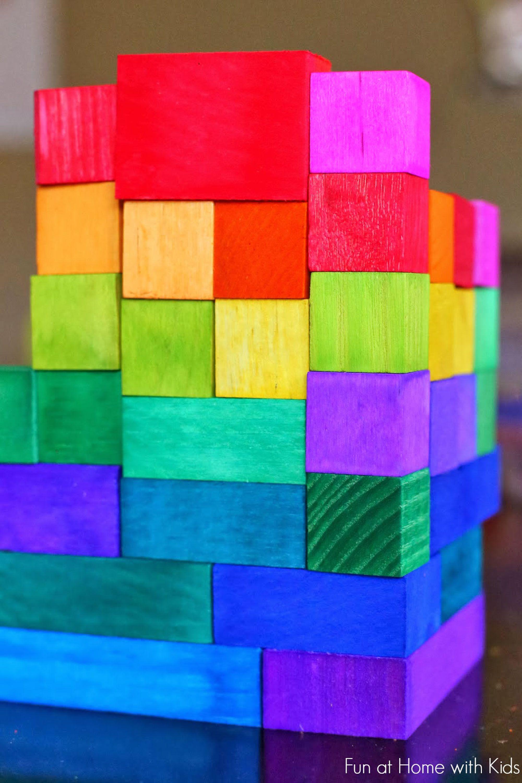 dyed rainbow blocks