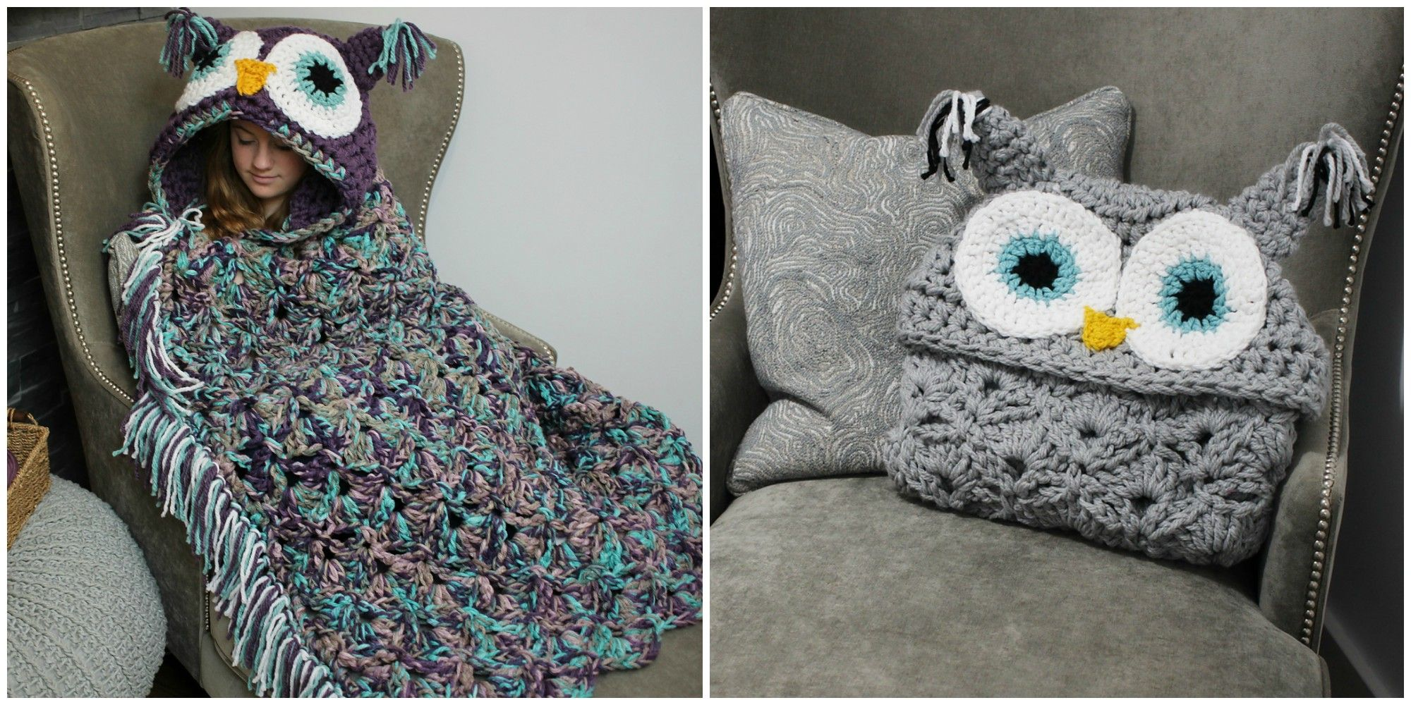 DIY Crochet Owl Blanket - How to Make Hooded Owl Blanket