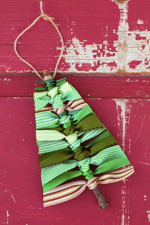scrap tree ribbon ornaments
