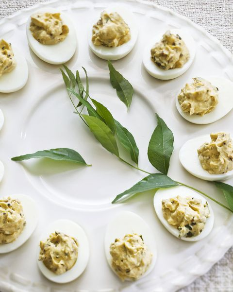 deviled eggs with cilantro, jalapeños, and curry