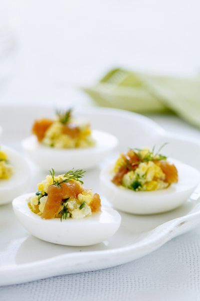 deviled eggs with smoked salmon and cucumbers