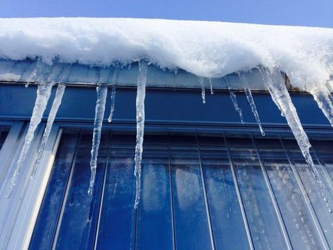 Icicle, Blue, Ice, Freezing, Winter, Snow, Roof, Sky, Water, Architecture,