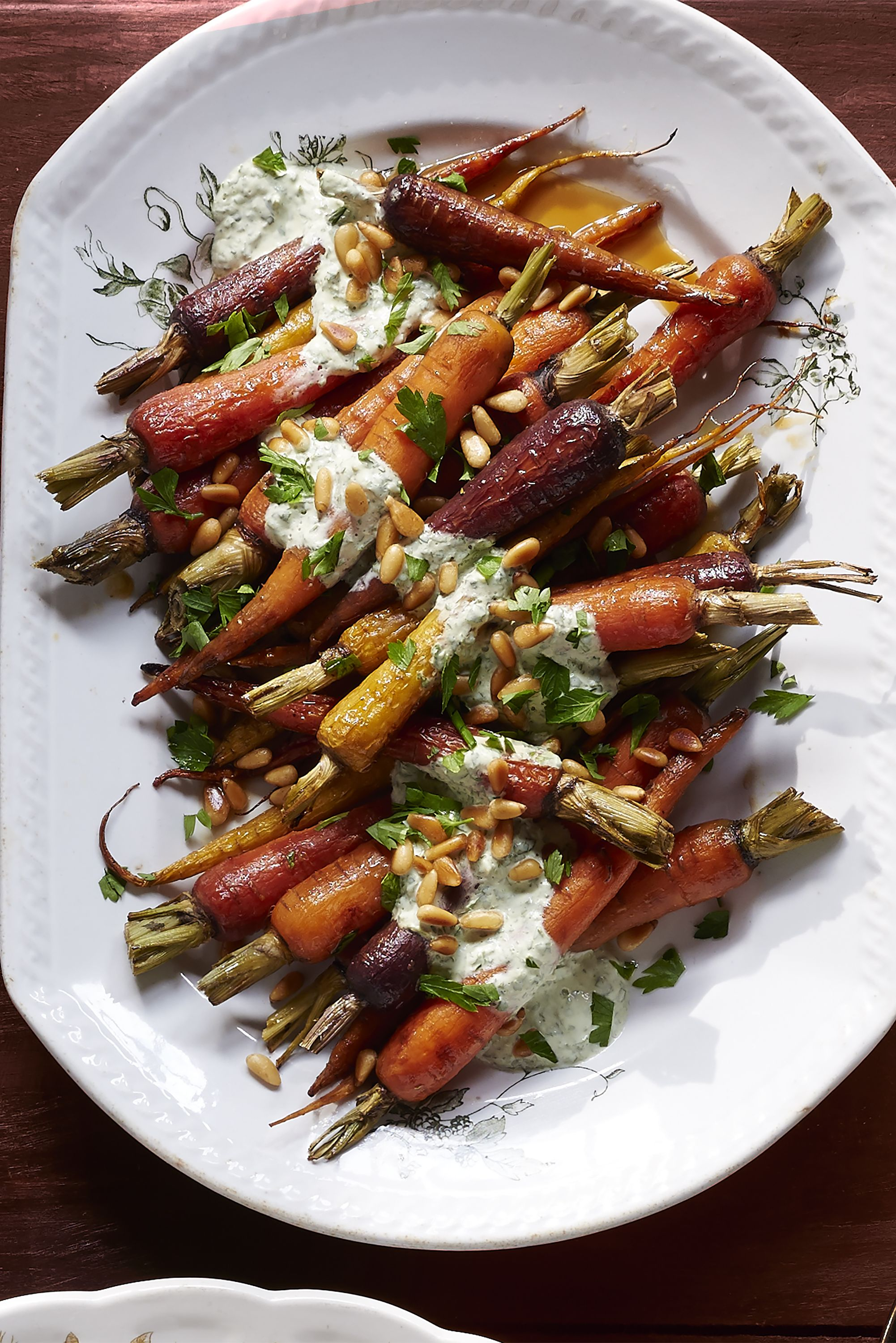orange carrots with yogurt-parsley dressing