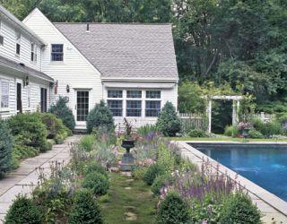 The backyard garden and pool