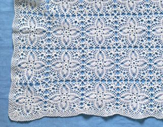 white lace floral crochet square