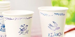 Stamped Paper Cups and Pitcher