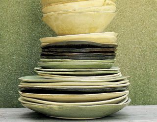stack of different size plates and bowls