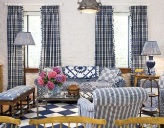 Living Room With Mix of Blue and White Patterns