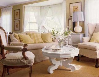 white and neutral tone living room