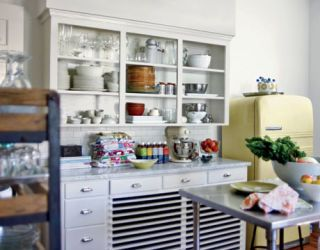 white kitchen in amy butler home