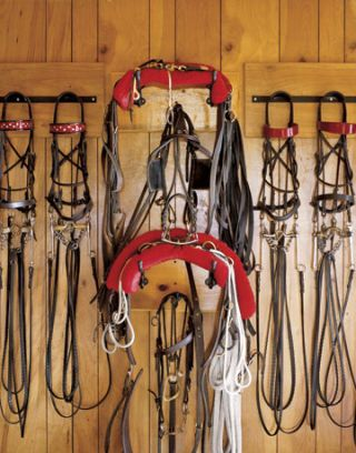 Gear on wall of the barn