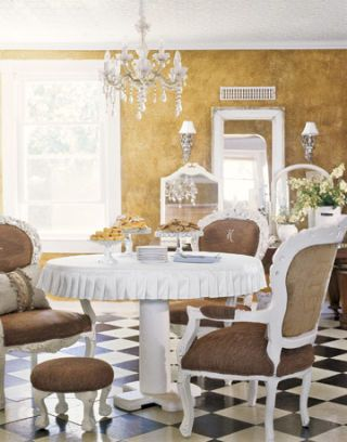 dining room with checkered floor