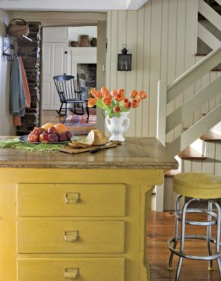 yellow kitchen island