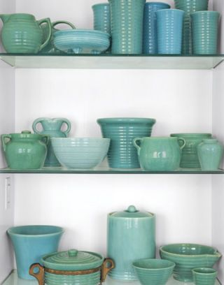 blue green pottery on display