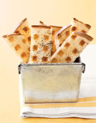 strips of toast with waffle grill pattern