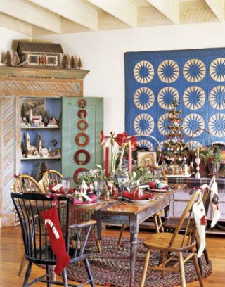 dining room with antique holiday decor