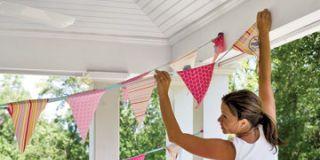 Hanging a Fluttering Springtime Flag Banner