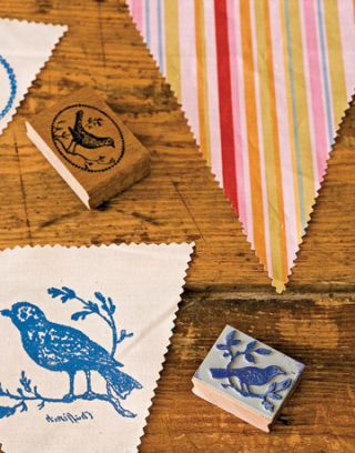 Enlarged Rubber Stamp Bird on Flag