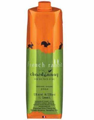 french rabbit chardonnay in an orange bottle