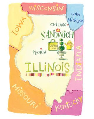 map of illinois showing location of sandwich antique market