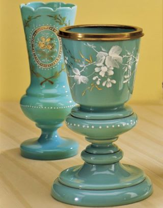 aqua bristol vases with white and gold detailing