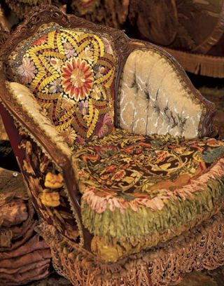 vintage chair with antique fabric