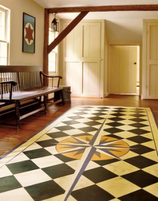 checkered floorcloth with compass pattern